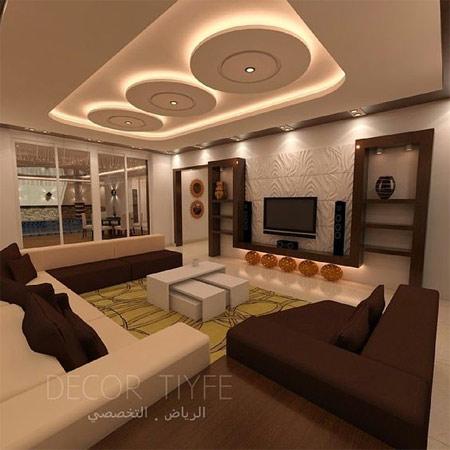 Подвесной потолок с подсветкой в гостиной