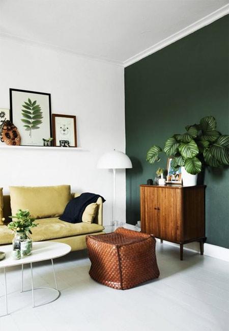 Зеленый цвет в интерьере 2018