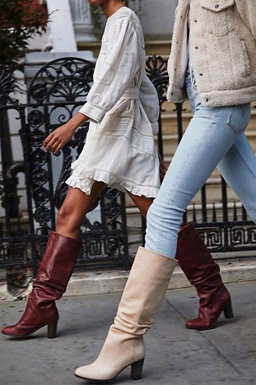 Высокие сапоги на модницах