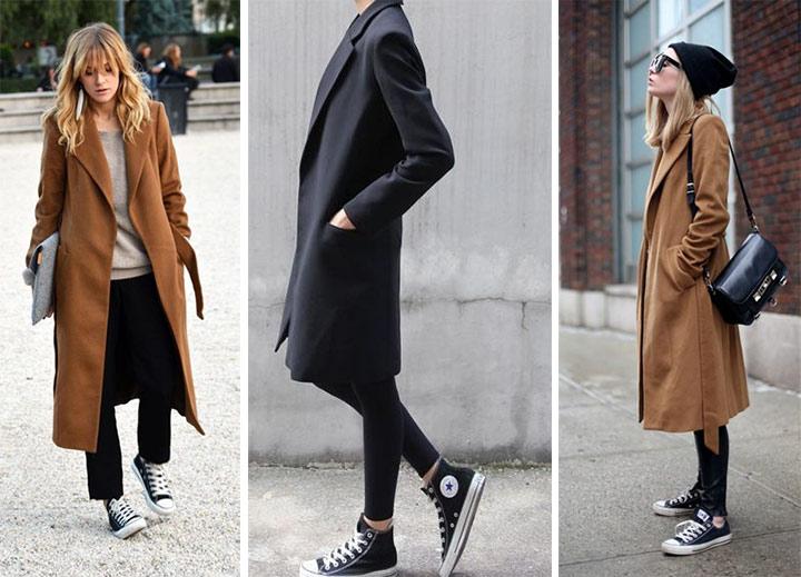 Кеды черного цвета и пальто