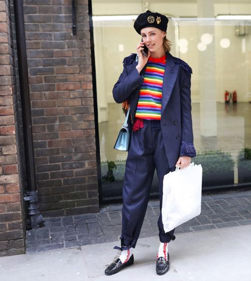 Модель Эди Кэмпбелл демонстрирует образ в уличном стиле 2018