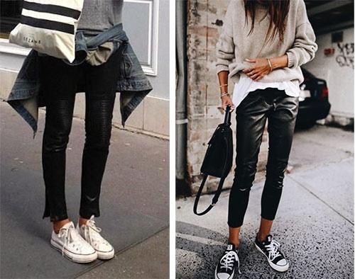 Черные брюки скинни и белые кеды