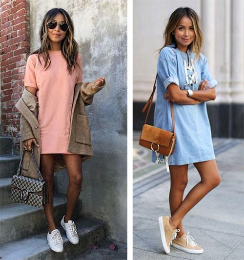 Короткое платье - белые или бежевые кеды