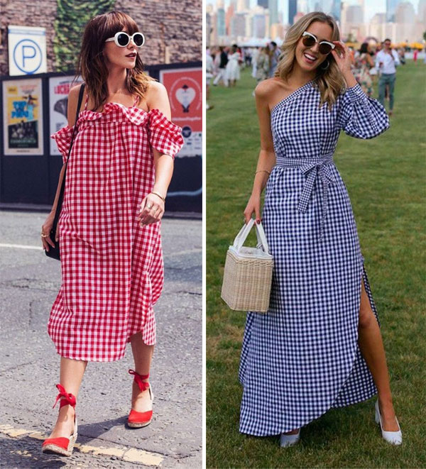 Платья в клетку в моде летом 2018