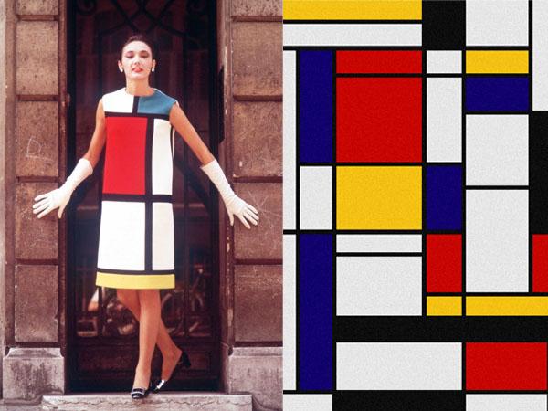 Работа Пита Мондриана и платье по ее мотивам