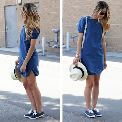 Синие кеды - платье из денима