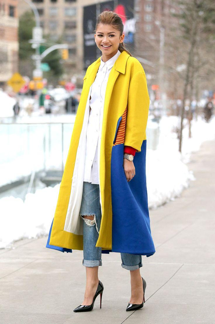 Пальто в стиле колор блок