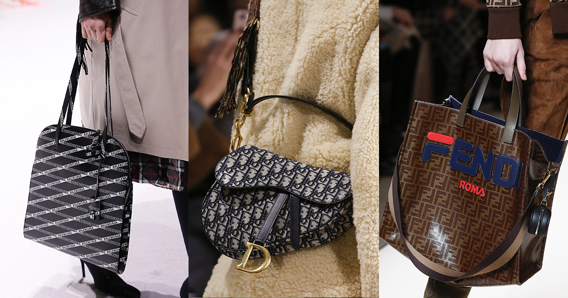 Какие сумки модны в 2018 году - с логотипами. Слева направо: Balenciaga, Dior, Fendi