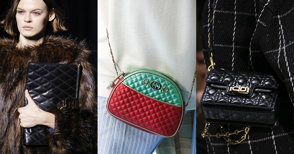 Модные стеганые сумки. Слева направо: Givenchy, Gucci, Dior