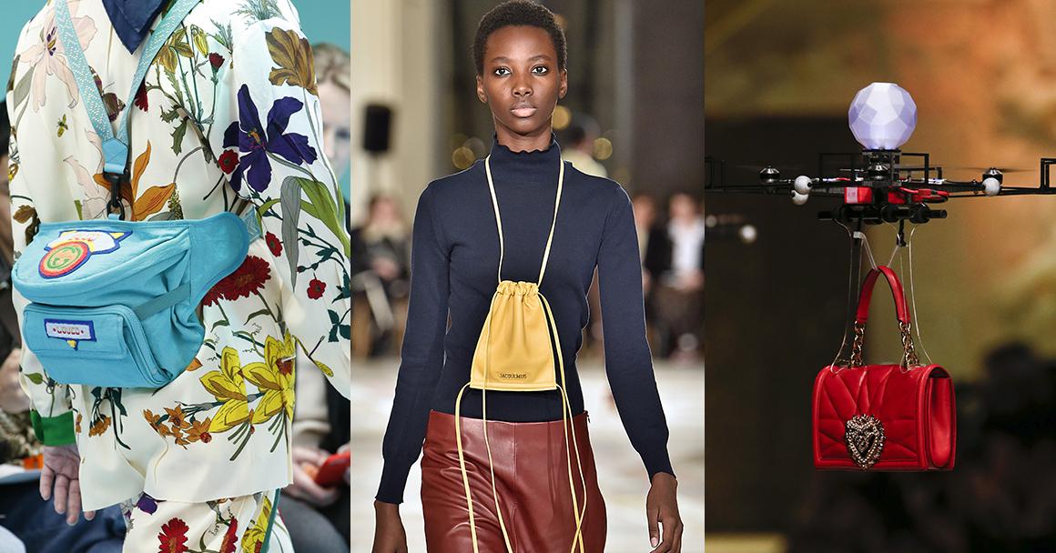 Модные сумки 2018 фото женские: слева направо Gucci, Jacquemus, D&G