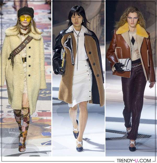 Дубленки и пальто из овчины от Christian Dior Louis Vuitton осень-зима 2018-2019