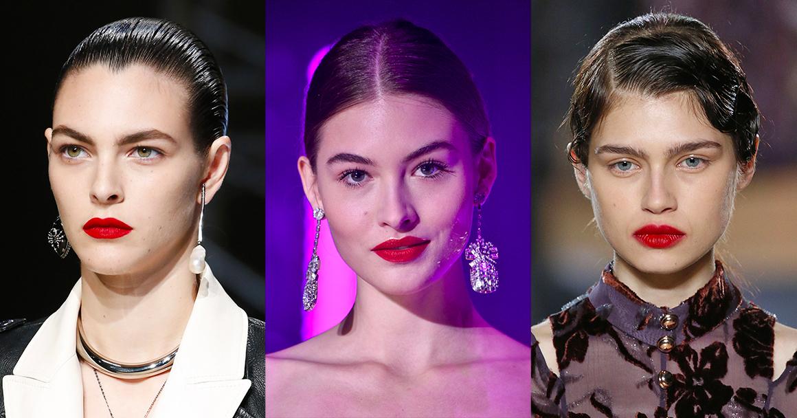 Модная внешность 2018 - макияж с красной помадой