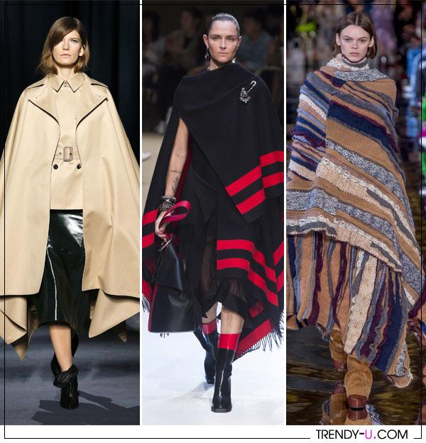 Пончо в коллекциях Stella McCartney, Alexander McQueen, Givenchy осень-зима 2018-2019