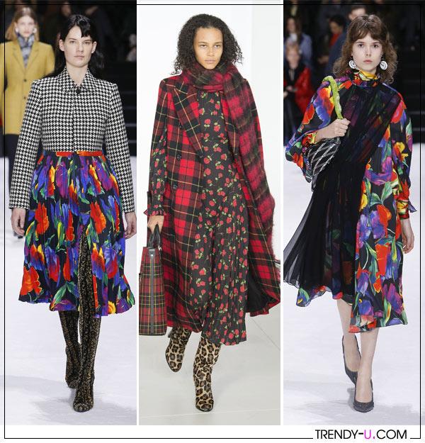 Цветочные принты на зимней женской одежды осень-зима 2018-2019 в коллекции Balenciaga