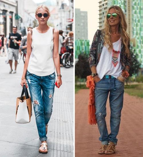 Сандалии и джинсы-бойфренды