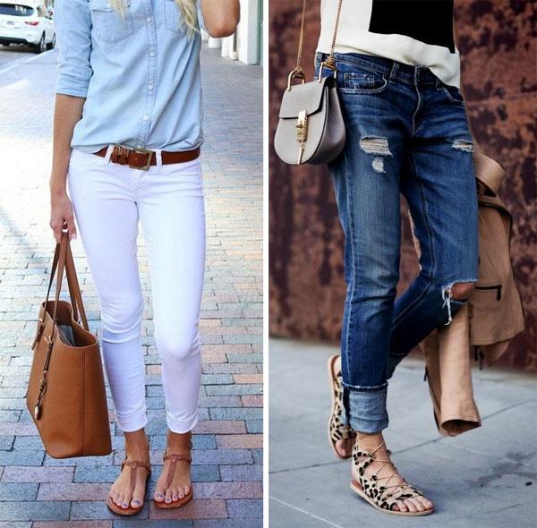 Как носить сандалии с джинсами