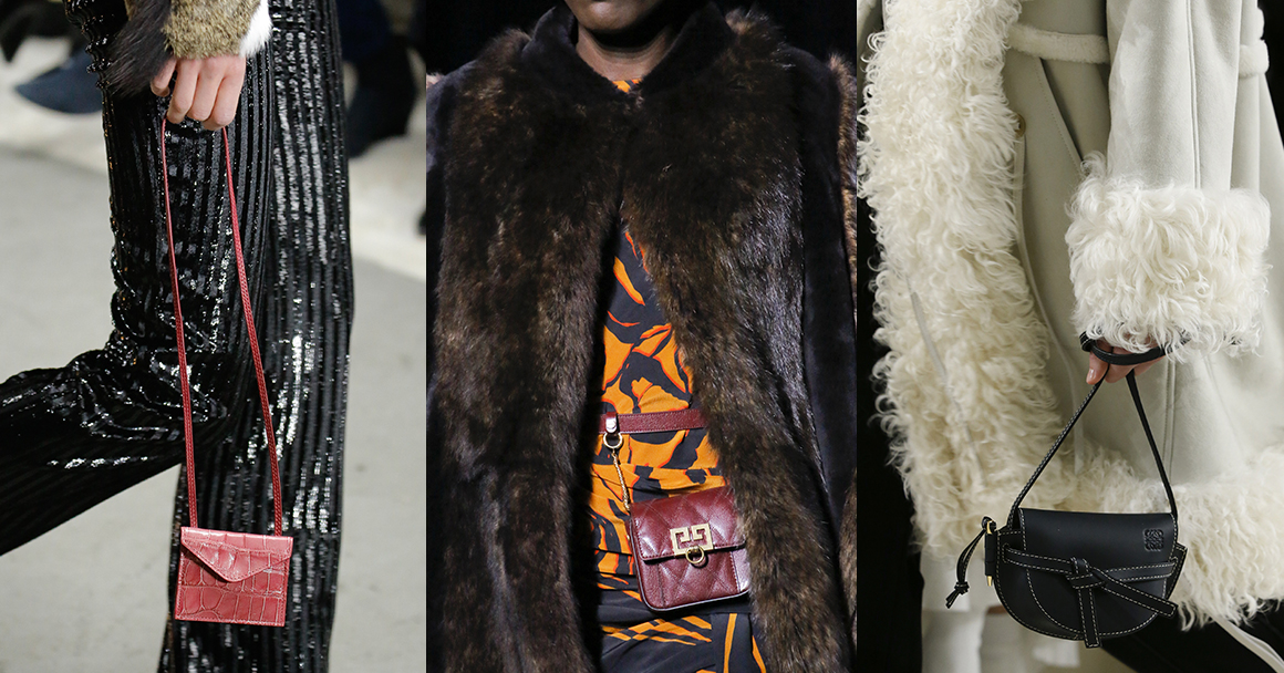 Модные сумки осень-зима 2018-2019. Слева направо: Giambattista Valli, Givenchy, Loewe