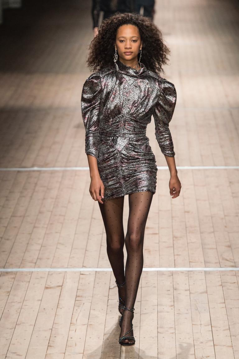 Блестящее платье с рукавами-фонарями Isabel Marant