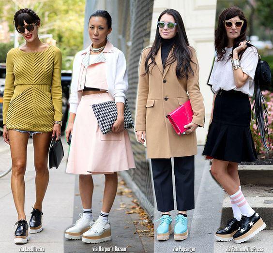 Обувь на платформе на уличных модницах