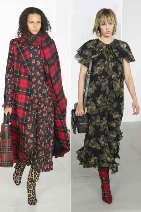Сапоги с принтом в сочетании с платьями в коллекции Michael Kors осень-зима 2018-2019