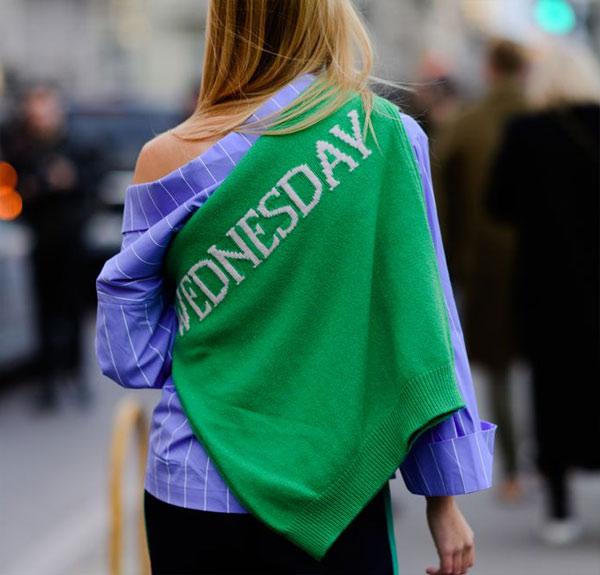Голубая рубашка + зеленый свитер