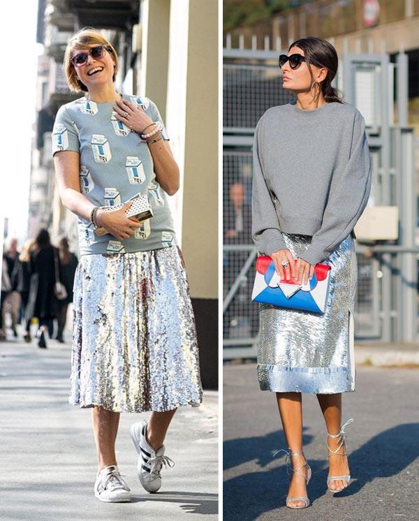 Юбка цвета металлик на модницах