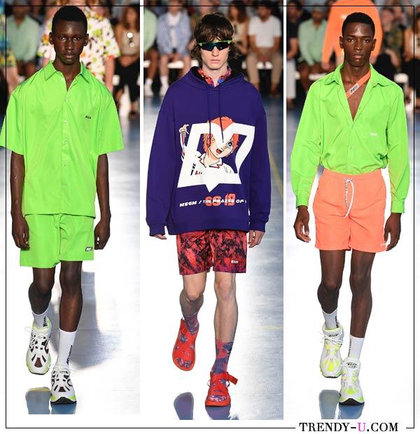 Одежда в спортивном стиле неоновых оттенков MSGM весна-лето 2019