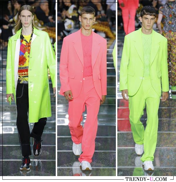 Тренч и костюмы неоновых цветов в мужской коллекции Versace весна-лето 2019