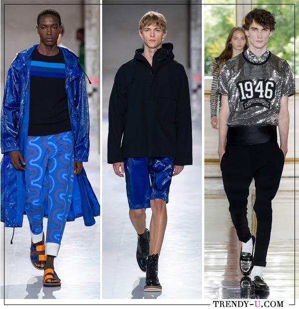 Мужская одежда в спортивном стиле от Dries Van Noten и Balmain (справа) весна-лето 2019