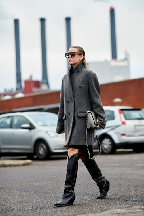 Высокие сапоги в ковбойском стиле с пальто