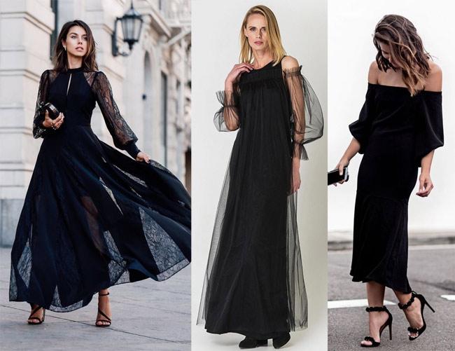 Черное платье для новогодних торжеств 2019