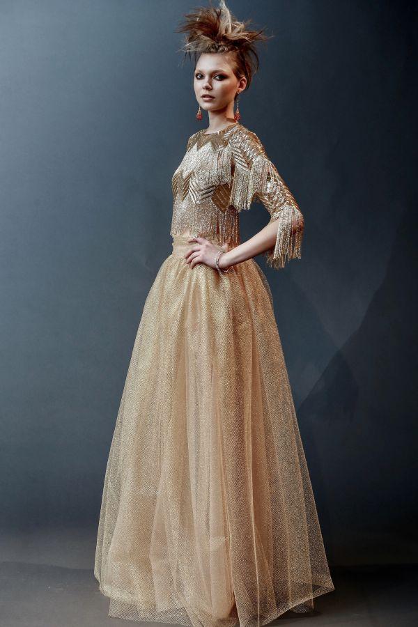 Свадебное платье золотистого цвета из коллекции Jenny Packham весна-лето 2019