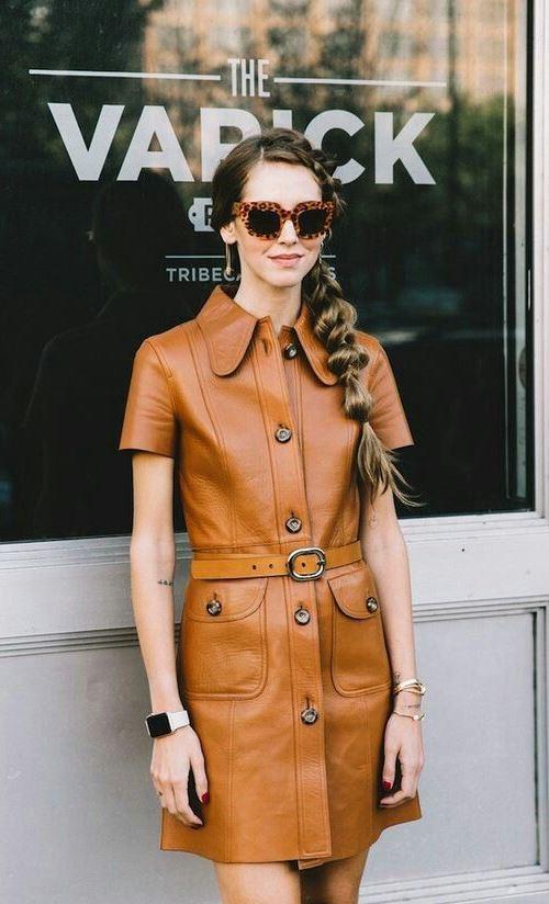 Кожаное платье в стиле 70-х