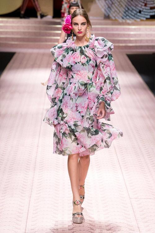 Платье с цветочным принтом Dolce & Gabbana весна-лето 2019