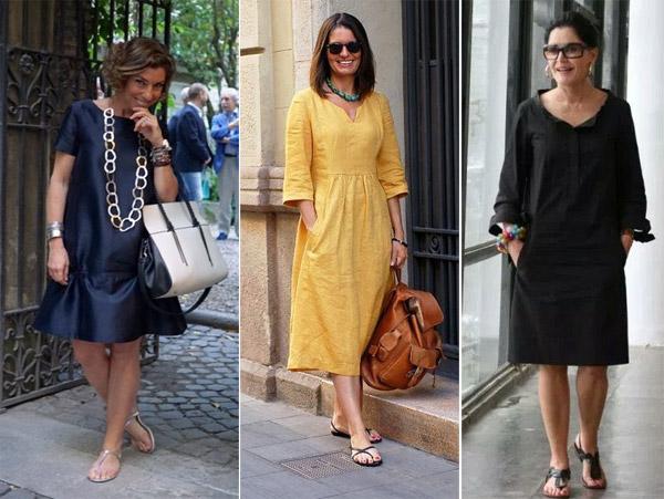 Повседневные платья на модницах в возрасте 40-50 лет