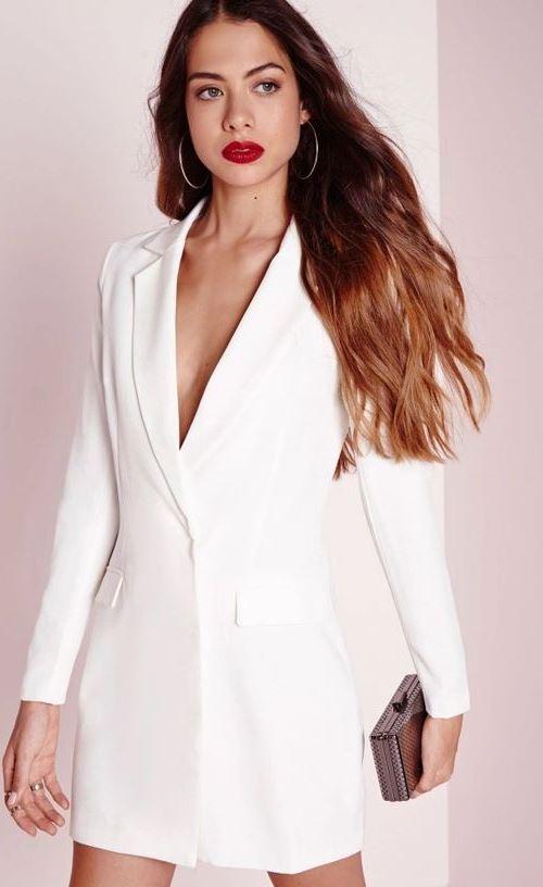 Белоснежное платье-блейзер