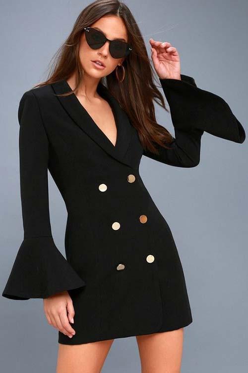 Черное платье-блейзер
