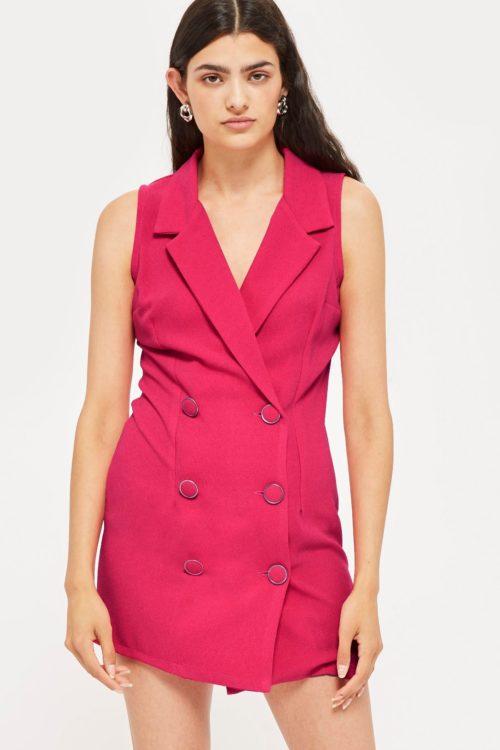 Розовое двубортное платье-блейзер
