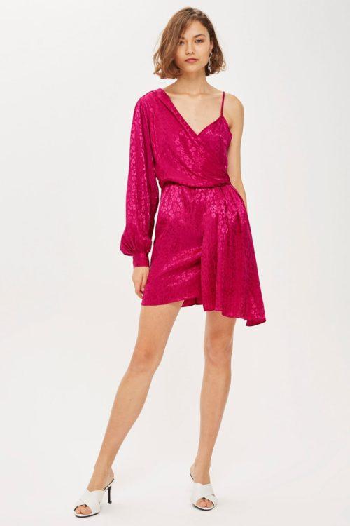 Розовое асимметричное платье