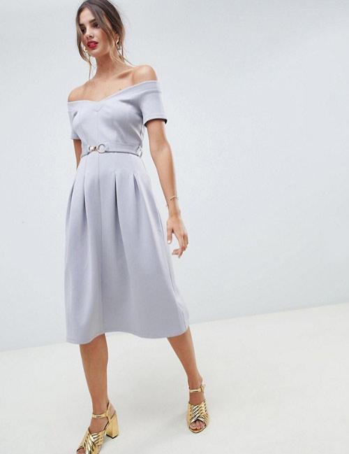 Платье с открытыми плечами для новогодней вечеринки 2019