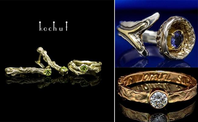 оригинальные кольца и серьги из золота