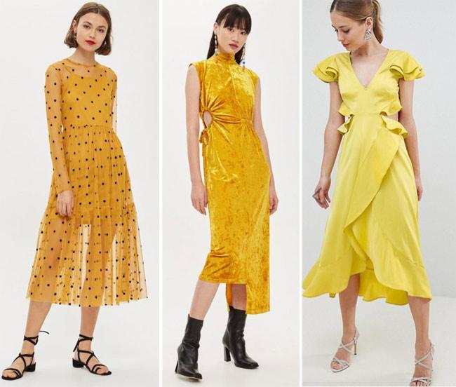 Платья желтого цвета и его оттенков на Новый год 2019: в горох, асимметричное из бархата, в романтическом стиле