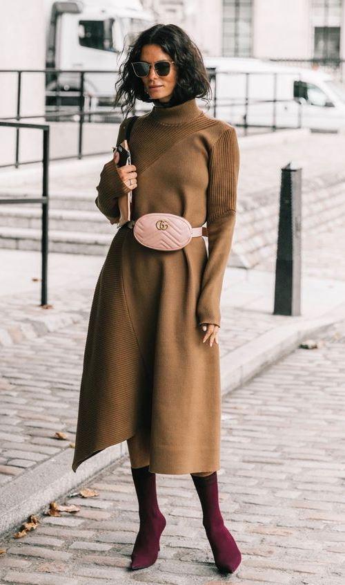 Ботильоны-носки с платьем-миди