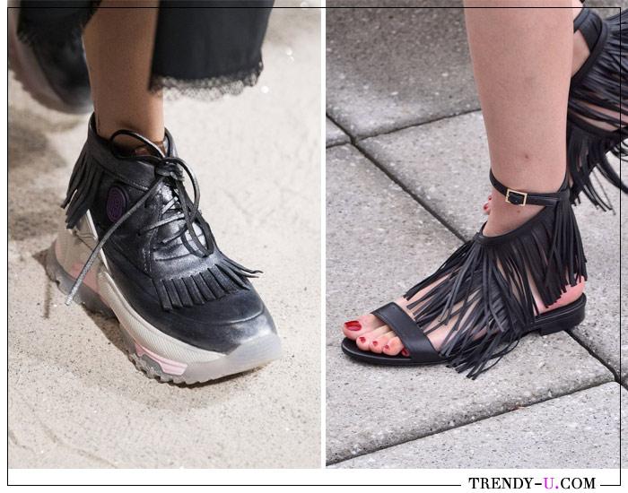 Ботинки в спортивном стиле и сандалии с бахромой Coach 1941 Oscar de la Renta весна-лето 2019