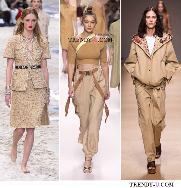 Одежда бежевого цвета в коллекциях готовой женской одежды Chanel, Fendi Salvatore Ferragamo весна-лето 2019