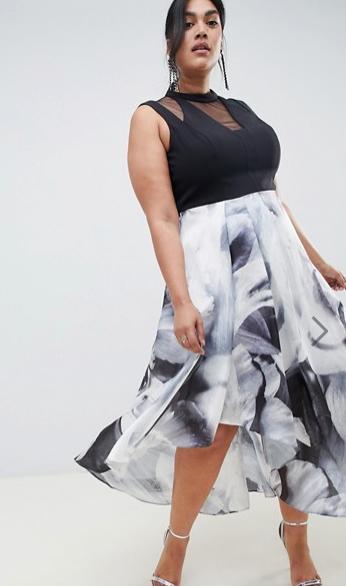 Шифоновое платье длины миди на полной девушке