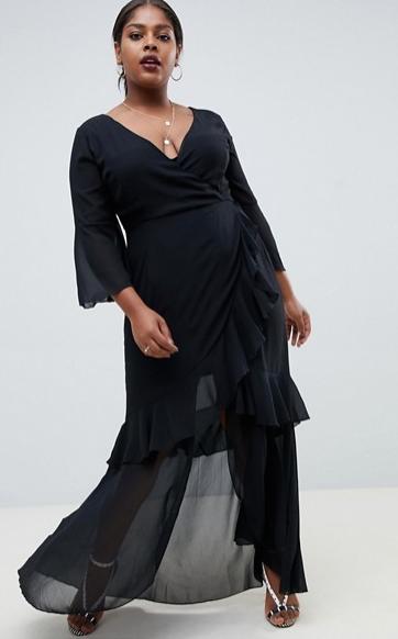 Черное шифоновое платье в пол для пышных девушек