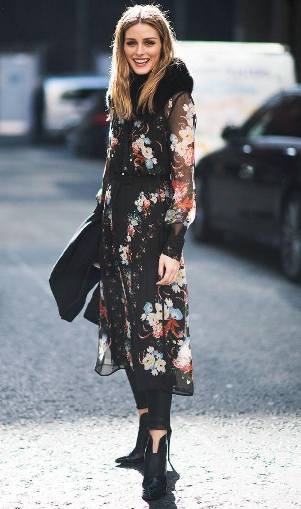 Черное шифоновое платье с растительным рисунком