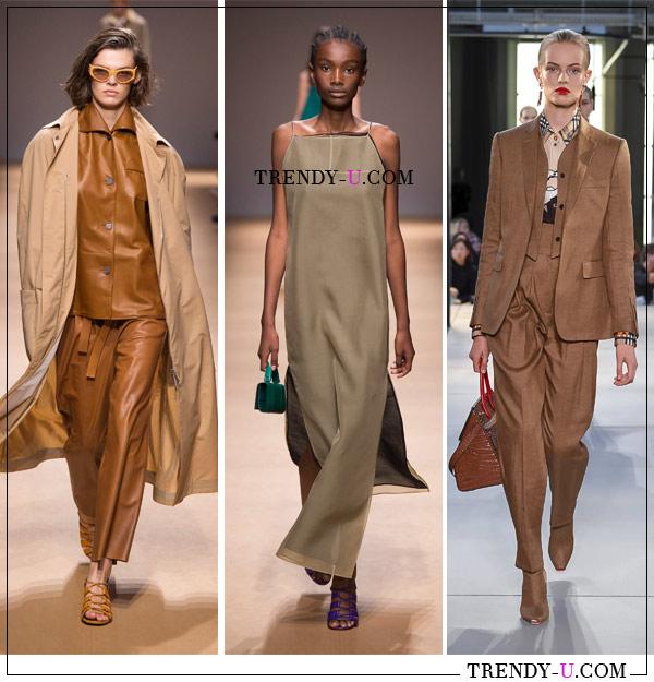 Тренч, брючные костюмы и платье цвета беж в коллекциях Salvatore Ferragamo (слева и посередине) и Burberry весна-лето 2019