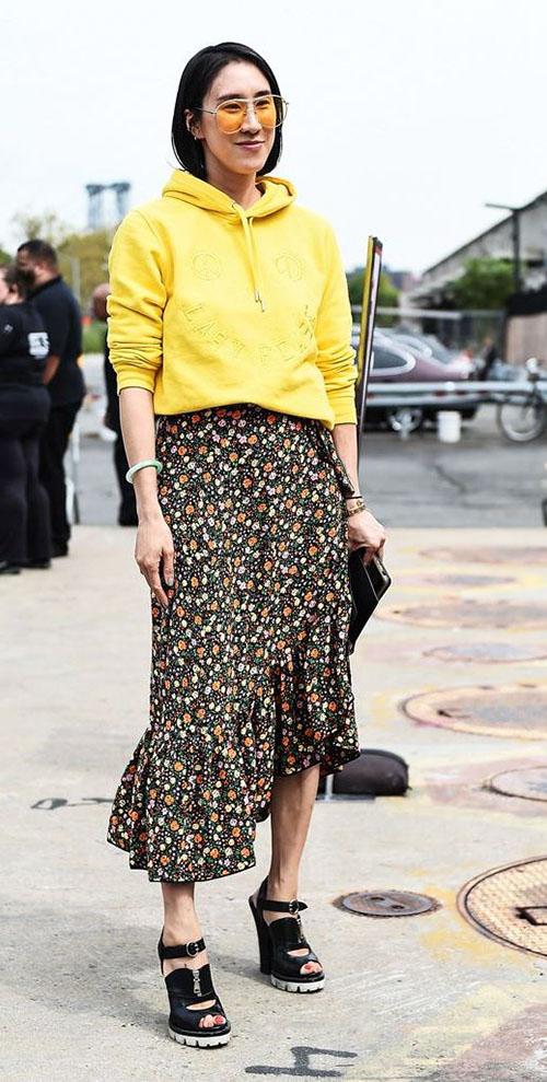 Желтая кофта и юбка-миди